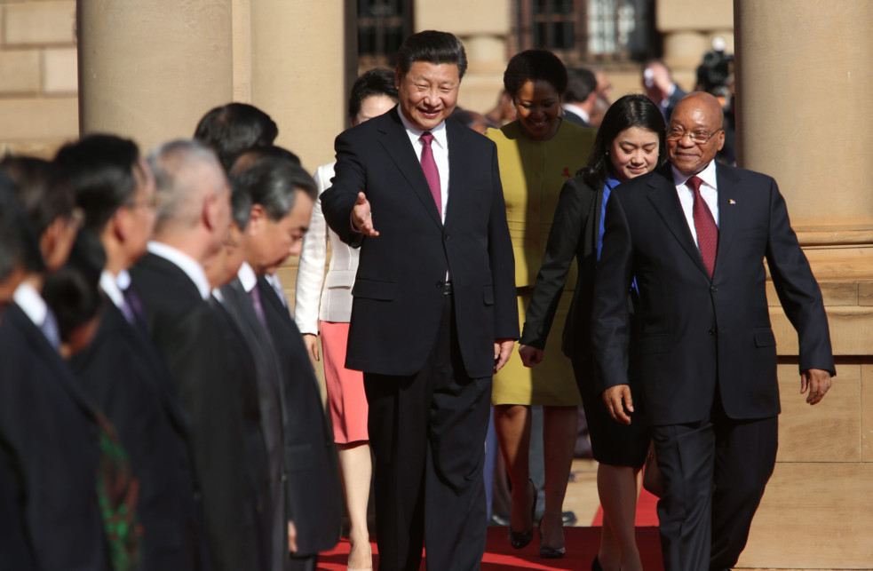 Chinese President Xi Jinping (centre) and South African President Jacob Zuma leave for a meeting after an arrival ceremony for Xi at the Union Buildings, in Pretoria, on December 2, 2015. Picture: Karel Prinsloo